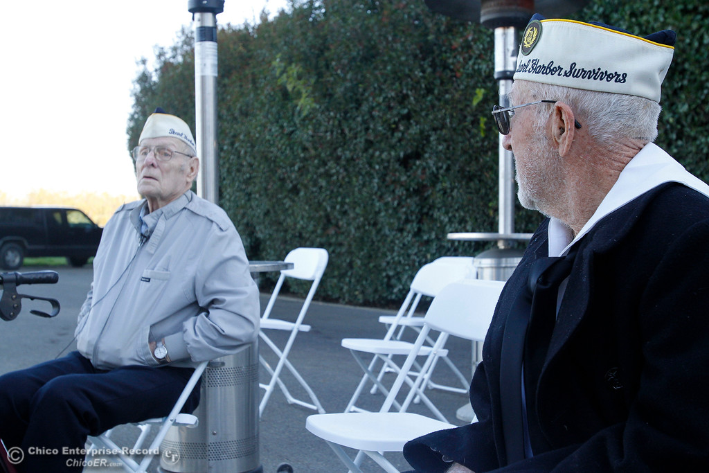 . Pearl Harbor survivors Art Wells, 95, left, of Chico, and Vere Gardner, 94, right, of Gridley, talk to people just before the Pearl Harbor remembrance ceremony Thursday, Dec. 7, 2017, at the Gridley Cemetery in Gridley, California. (Dan Reidel -- Enterprise-Record)