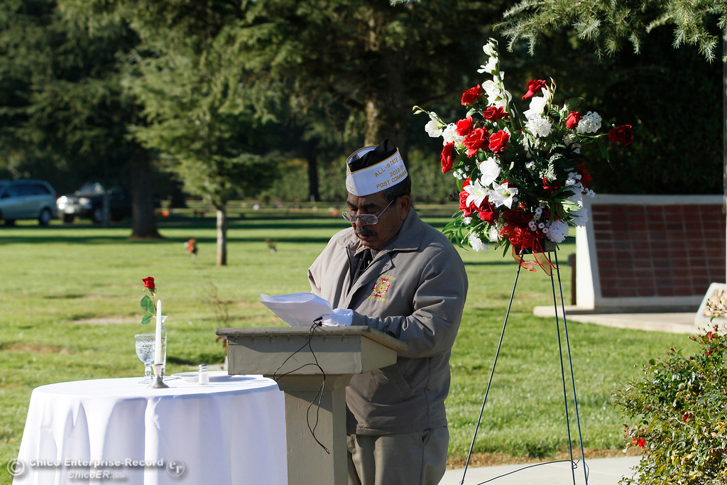 . Gridley VFW Post Commander George Hiralez during the Pearl Harbor remembrance ceremony Thursday, Dec. 7, 2017, at the Gridley Cemetery in Gridley, California. (Dan Reidel -- Enterprise-Record)