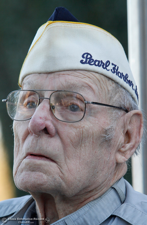 . Art Wells, 95, of Chico, just before the Pearl Harbor remembrance ceremony Thursday, Dec. 7, 2017, at the Gridley Cemetery in Gridley, California. (Dan Reidel -- Enterprise-Record)