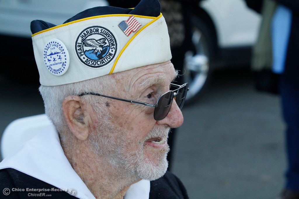 . Vere Gardner, 94, of Gridley, just before the Pearl Harbor remembrance ceremony Thursday, Dec. 7, 2017, at the Gridley Cemetery in Gridley, California. (Dan Reidel -- Enterprise-Record)