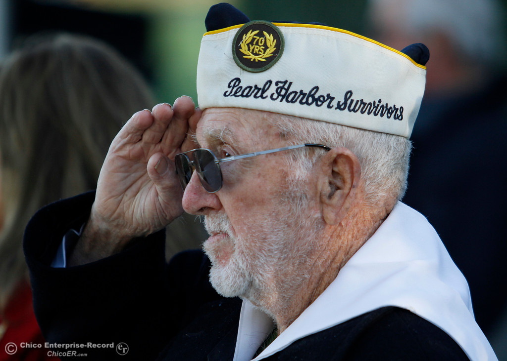 . Pearl Harbor survivor Vere Gardner salutes the flag during the Pearl Harbor remembrance ceremony Thursday, Dec. 7, 2017, at the Gridley Cemetery in Gridley, California. (Dan Reidel -- Enterprise-Record)