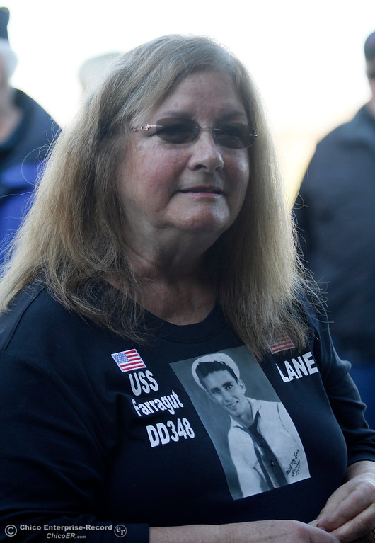 . Survivor Homer Lane\'s daughter wears a T-shirt commemorating her father who came to the yearly  remembrance before he died  just after the Pearl Harbor remembrance ceremony Thursday, Dec. 7, 2017, at the Gridley Cemetery in Gridley, California. (Dan Reidel -- Enterprise-Record)
