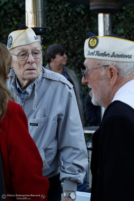. Art Wells, 95, of Chico, left, and Vere Gardner, 94, of Gridley, just before the Pearl Harbor remembrance ceremony Thursday, Dec. 7, 2017, at the Gridley Cemetery in Gridley, California. (Dan Reidel -- Enterprise-Record)