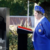 Chaplain Jeanette Hayhurst conducts a prayer during the Pearl Harbor remembrance ceremony Thursday, Dec. 7, 2017, at the Gridley Cemetery in Gridley, California. (Dan Reidel -- Enterprise-Record)