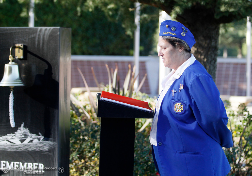 . Chaplain Jeanette Hayhurst conducts a prayer during the Pearl Harbor remembrance ceremony Thursday, Dec. 7, 2017, at the Gridley Cemetery in Gridley, California. (Dan Reidel -- Enterprise-Record)