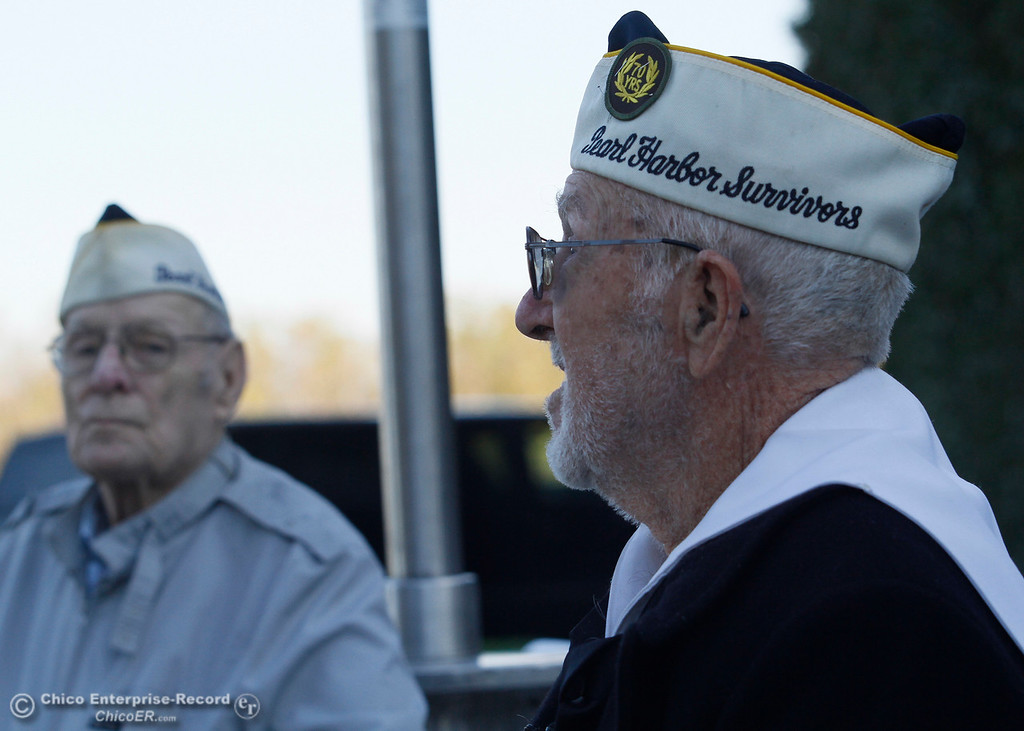 . Pearl Harbor survivors Art Wells, 85, of Chico, left, and Vere Gardner, 95, of Gridley, right, just before the Pearl Harbor remembrance ceremony Thursday, Dec. 7, 2017, at the Gridley Cemetery in Gridley, California. (Dan Reidel -- Enterprise-Record)