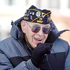 BEN GARVER — THE BERKSHIRE EAGLE<br /> Anthony Pastore, 94, sings the National Anthem during the Pearl Harbor Day ceremony in Veterans Park in Pittsfield, Friday December 7, 2018
