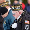 BEN GARVER — THE BERKSHIRE EAGLE<br /> Veterans bow their heads in prayer during the Pearl Harbor Day ceremony in Veterans Park in Pittsfield, Friday December 7, 2018