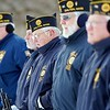 BEN GARVER — THE BERKSHIRE EAGLE<br /> Veterans bow their heads in prayer during the Pearl Harbor Day ceremony in Veterans Park in Pittsfield, Friday December 7, 2018. Dalton American Legion Post 155 members.