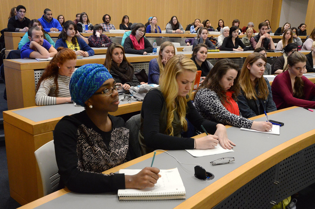 . Students fill the lecture hall where Gloria Steinem speaks to students during a question and answer session in the Feigenbaum Center for Science and Innovation on Tuesday, March, 4, 2014. Gillian Jones / Berkshire Eagle Staff / photos.berkshireeagle.com