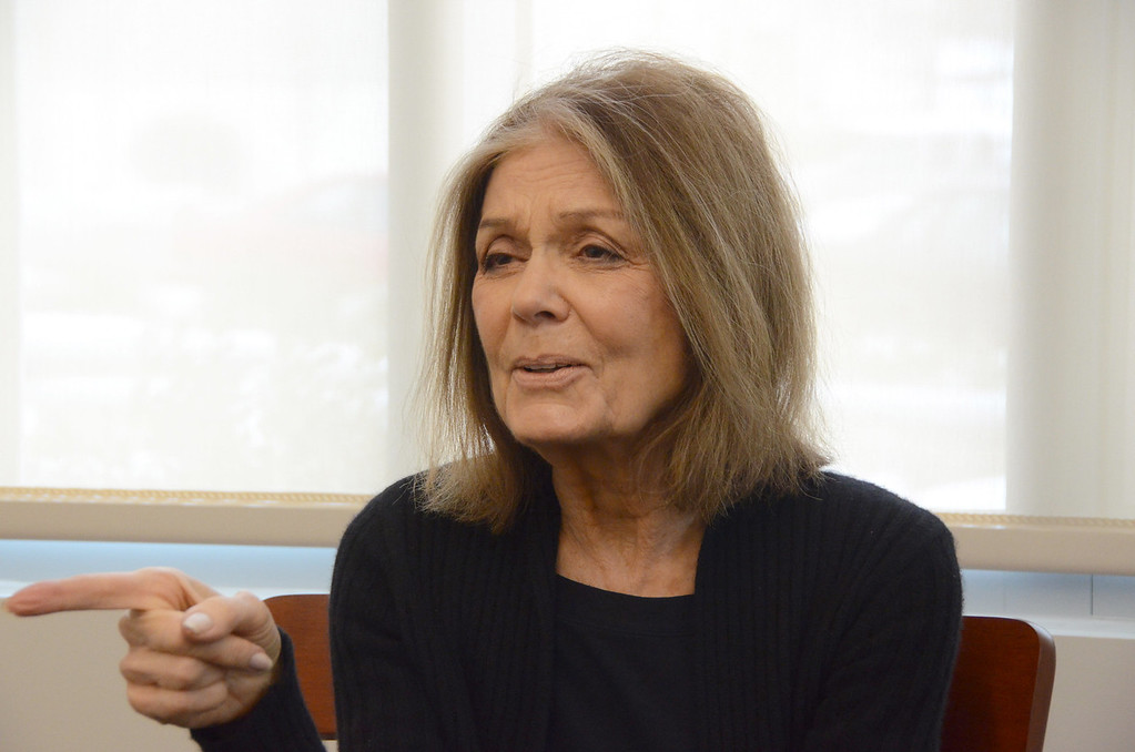 . Gloria Steinem speaks to the media during a press conference in the Feigenbaum Center for Science and Innovation on Tuesday, March, 4, 2014. Gillian Jones / Berkshire Eagle Staff / photos.berkshireeagle.com