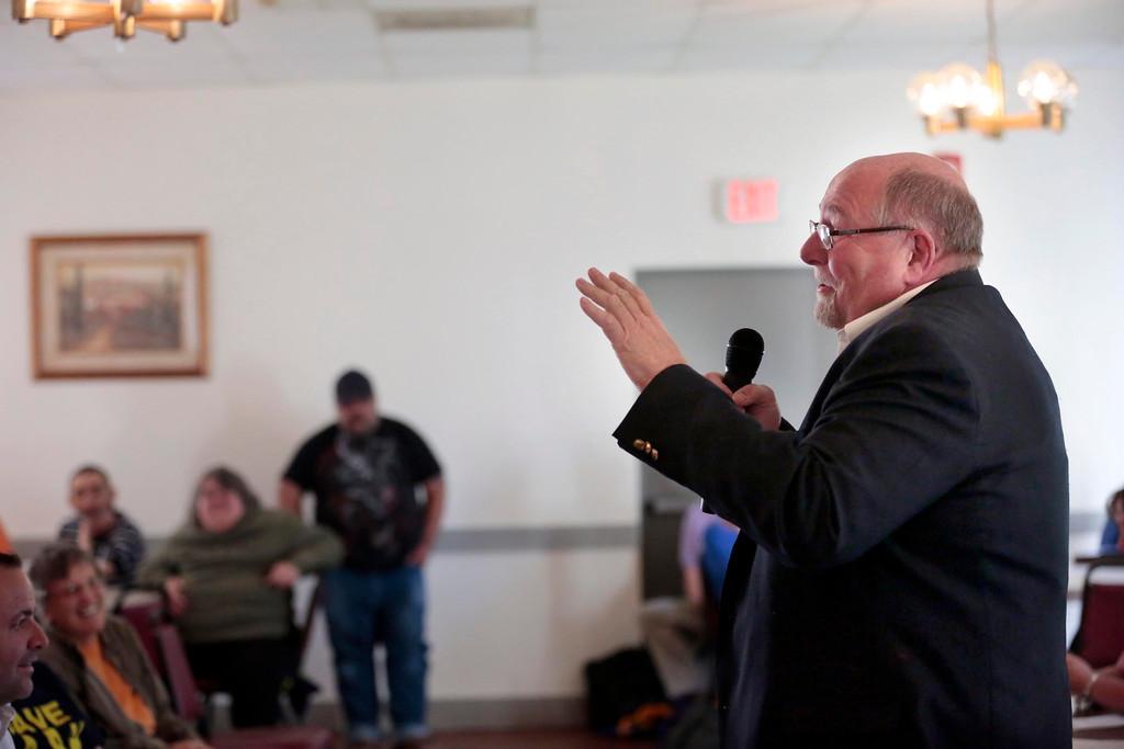 . Mayor Richard Alcombright speaks at a Tuesday night NARH meeting at the American Legion in North Adams. Tuesday, May 20, 2014. Stephanie Zollshan / Berkshire Eagle Staff / photos.berkshireeagle.com