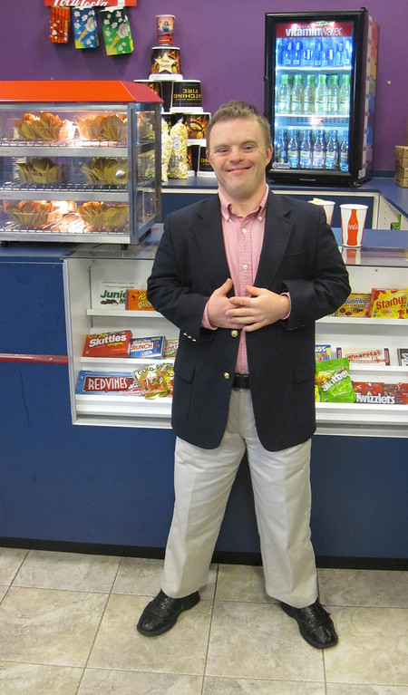 """. Peter Johnson, 26, of Scituate and West Stockbridge poses after a North Adams Movieplex screening of the 2007 family holiday film \""""The Child King,\"""" in which Johnson is cast in a leading role. Jenn Smith/Berkshire Eagle Staff Saturday, Nov. 9, 2013"""