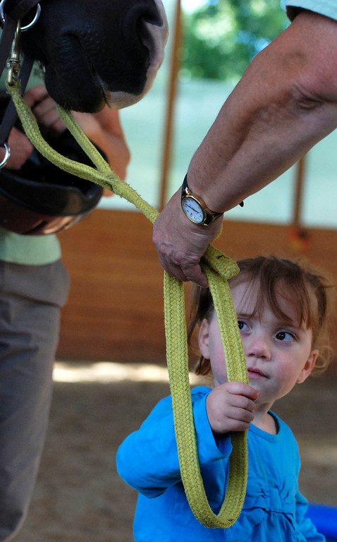 """. Kayla Rice/Reformer                                 Lexi Leland, 3, says goodbye to her therapy horse \""""Spot\"""" after her weekly horse therapy at Winchester Stables in Newfane."""