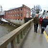 KRISTOPHER RADDER - BRATTLEBORO REFORMER<br /> Gretchen Havreluk, Wilmington's economic development consultant, gives U.S. Rep. Peter Welch, D-Vt., a tour of downtown Wilmington on Wednesday, April 4, 2018.