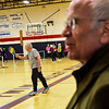 KRISTOPHER RADDER - BRATTLEBORO REFORMER<br /> U.S. Rep. Peter Welch, D-Vt., watches people playing pickleball while Joel Berg serves the ball during a tour of the former Twin Valley High School, in Wilmington, on Wednesday, April 4, 2018.