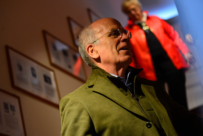 KRISTOPHER RADDER - BRATTLEBORO REFORMER<br /> U.S. Rep. Peter Welch, D-Vt., takes a moment to view plaques hanging at the Wilmington Town Offices during a visit on Wednesday, April 4, 2018.