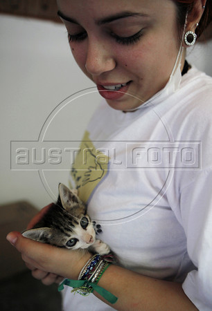 A volunteer takes care of a wounded cat just rescued from a destroyed house by tragic mudslide in Nova Friburgo, Rio de Janeiro state, Brazil, January 22, 2011 . Many volunteers are helping save hundred pets and others animals that were left behind by their owners or lost after they proprietors are killed in the mudslide in the mountainous region, when a massive wall of water descended narrow valleys, carrying away anything in it's path. (Austral Foto/Severino Silva)