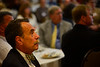 KRISTOPHER RADDER - BRATTLEBORO REFORMER<br /> Brattleboro Savings and Loans CEO Dan Yates listens to Vermont Governor Phil Scott during the annual Brattleboro Chamber of Commerce luncheon at the American Legion, in Brattleboro, on Monday, April 30, 2018.