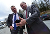 KRISTOPHER RADDER - BRATTLEBORO REFORMER<br /> Vermont Governor Phil Scott looks at the cell phone of Grace Cottage Hospital CEO Doug DiVello as they check the new cell coverage at the hospital on Monday, April 30, 2018.