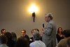 KRISTOPHER RADDER - BRATTLEBORO REFORMER<br /> David Twombly asks Vermont Governor Phil Scott a question about the state's Act 46 school consolidation law during the annual Brattleboro Chamber of Commerce luncheon at the American Legion, in Brattleboro, on Monday, April 30, 2018.