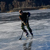 KRISTOPHER RADDER — BRATTLEBORO REFORMER<br /> A group of people have a pick-up ice hockey game at the Retreat Meadows as the ice becomes thick enough for people to enjoy the various winter activities on Wednesday, Dec. 12, 2018.