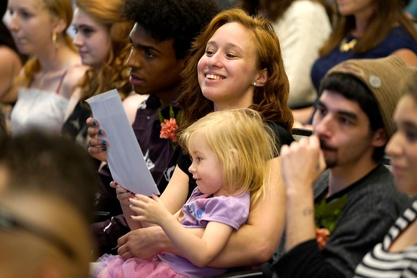 BEN GARVER — THE BERKSHIRE EAGLE<br /> Charlynn Rand, 19, shares a moment with her daughter Adeline, 3, after graduating from the Pittsifield Adult Learning Center, Thursday, June 13, 2019.