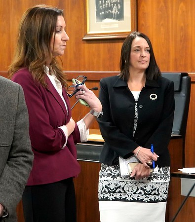 BEN GARVER — THE BERKSHIRE EAGLE<br /> Melissa Mazzeo and Pittsfield Mayor Linda Tyer observe the recount process in Council Chambers at City Hall in Pittsfield for the Mayoral race. Tyer defeated challenger Mazzeo by 526 votes, Monday, November 25, 2019.