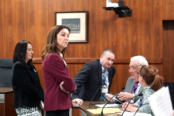 Board of Registrars<br /> BEN GARVER — THE BERKSHIRE EAGLE<br /> Pittsfield Mayor Linda Tyer and Melissa Mazzeo stand in front of the Board of Registrars<br /> during the recount process in Council Chambers at City Hall in Pittsfield for the Mayoral race. Tyer defeated challenger Mazzeo by 526 votes, Monday, November 25, 2019.