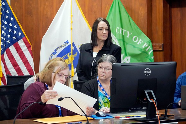 BEN GARVER — THE BERKSHIRE EAGLE<br /> Pittsfield Mayor Linda Tyer observes the recount process in Council Chambers at City Hall in Pittsfield for the Mayoral race. Tyer defeated challenger Mazzeo by 526 votes, Monday, November 25, 2019.