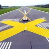 BEN GARVER — THE BERKSHIRE EAGLE<br /> The yellow x signs at the end of the runways at Pittsfield Municipal Airport indicate closure. Runways 8/26  and 14/32 are both closed during the construction and the airport is thus closed as the runway surfaces are being rebuilt.