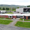 BEN GARVER — THE BERKSHIRE EAGLE<br /> This is a view of the Terminal building at Pittsfield Municipal Airport with the Lyon Aviation hangar in the background.