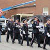 Members of the Pittsfield Police Department and Berkshire County Sheriff's Office honor guards proceed during the call to colors at Monday's memorial ceremony for fallen law enforcement members.