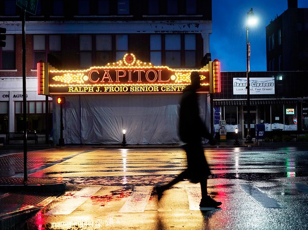 BEN GARVER — THE BERKSHIRE EAGLE<br /> The Capitol Theater  Marquee at The Froio Senior Center is once again lighting the city's downtown landscape, Monday June 11, 2019.