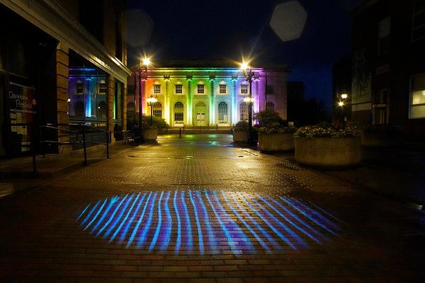 BEN GARVER — THE BERKSHIRE EAGLE<br /> Pittsfield City Hall, lit to celebrate LGBTQ Pride is one of several buildings that will be lit by Berkshire Lightscapes, Monday June 11, 2019. The lighting extends to Dunham Mall.