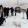 Jennifer Rodi, NTSB spokesperson,  with Sue Cullen of the Boulder County Sheriff's department, talks to the media on Sunday.<br /> At least three people died Saturday afternoon after two planes, one of them pulling a glider, collided in north Boulder, scattering debris over 115 acres of open space.<br /> Cliff Grassmick / February 7, 2010