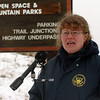 Jennifer Rodi, NTSB spokesperson, talks to the media on Sunday.<br /> At least three people died Saturday afternoon after two planes, one of them pulling a glider, collided in north Boulder, scattering debris over 115 acres of open space.<br /> Cliff Grassmick / February 7, 2010