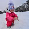 KRISTOPHER RADDER — BRATTLEBORO REFORMER<br /> Charlotte Radder, 3, from Keene, N.H., builds a snowman at Living Memorial Park, on Dec. 31, 2019.