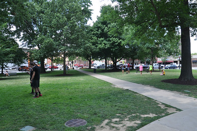 ASHLEY FOX / GAZETTE The gazebo in Medina is a hot-spot for Pokémon Go on Monday. Players said that the square was busy with at least 100 people Sunday night into early Monday, playing the game on their smart phones.