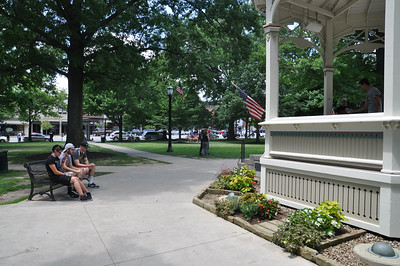 ASHLEY FOX / GAZETTE The gazebo in Medina is a hot-spot for Pokémon Go on Monday. Players said that the square was busy with at least one hundred people Sunday night into early Monday, playing the game on their smart phones.