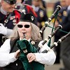 BEN GARVER — THE BERKSHIRE EAGLE<br /> Bagpiper Mary Brinton leads<br /> local law enforcement in a show of respect for fallen officers during the Police Memorial Day celebration in Pittsfield on the Common, Wednesday, May 15, 2019.  In 1962, President John F. Kennedy signed a proclamation which designated May 15 as Peace Officers Memorial Day.