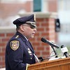 BEN GARVER — THE BERKSHIRE EAGLE<br /> Pittsfield Police Chief Michael Wynn leads local law enforcement in a show respect for fallen officers during the Police Memorial Day celebration in Pittsfield on the Common, Wednesday, May 15, 2019.  In 1962, President John F. Kennedy signed a proclamation which designated May 15 as Peace Officers Memorial Day.