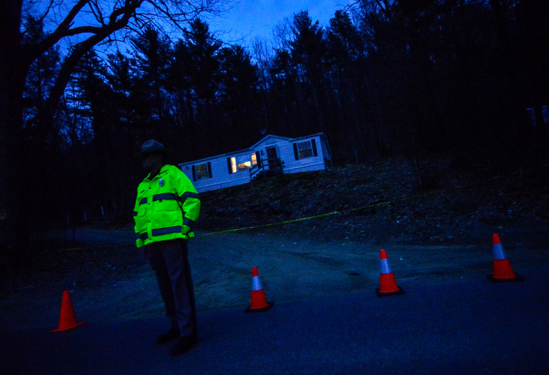 KRISTOPHER RADDER — BRATTLEBORO REFORMER<br /> New Hampshire State Police investigate the suspicious deaths of a man and a woman at 240 Plain Road, in Hinsdale, N.H., on Thursday, April 11, 2019.
