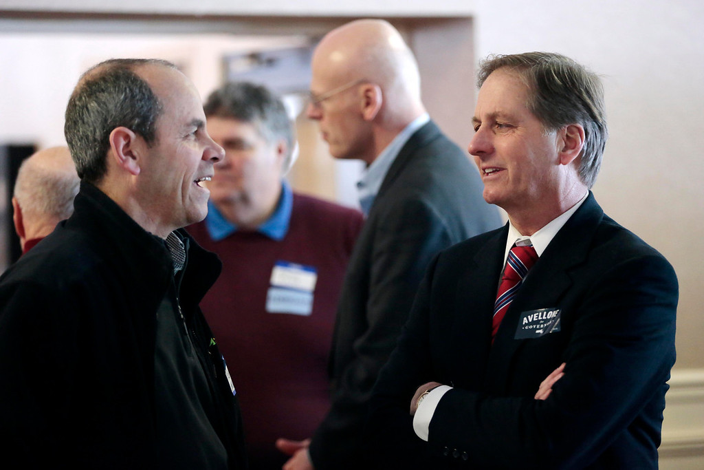 . Candidate Joe Avellone, right, talks with supporters at a Democratic party gubernatorial candidate meet-and-greet held by the Berkshire Brigades at the ITAM lodge in Pittsfield. Sunday, January 26, 2014. (Stephanie Zollshan | Berkshire Eagle Staff)