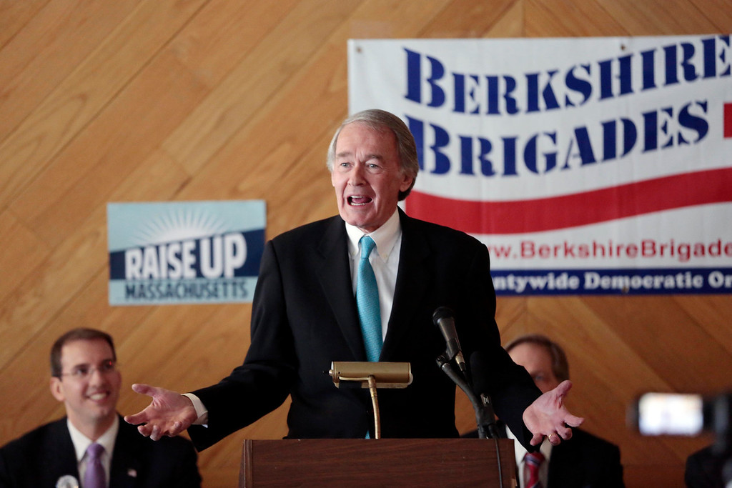 . Senator Ed Markey speaks at a Democratic party gubernatorial candidate meet-and-greet held by the Berkshire Brigades at the ITAM lodge in Pittsfield. Sunday, January 26, 2014. (Stephanie Zollshan | Berkshire Eagle Staff)