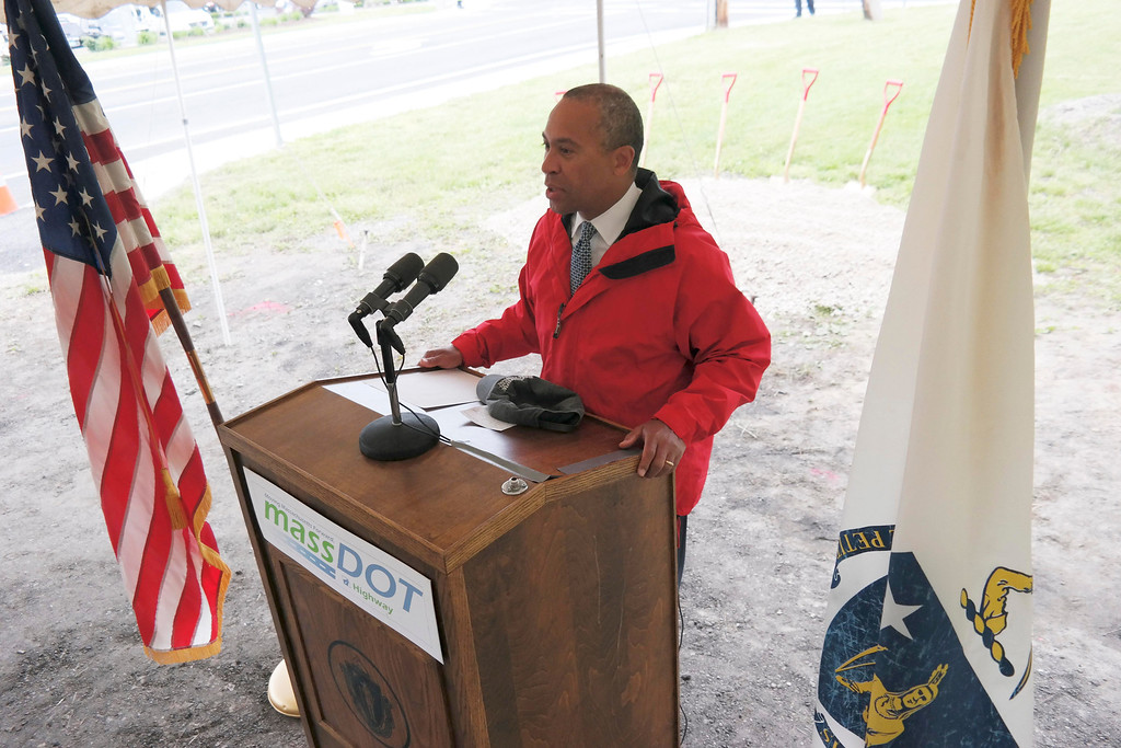 . Governor Deval Patrick speaks at a groundbreaking ceremony in Lee for the repair of Tyringham Road. Monday June 9, 2014.  Ben Garver / Berkshire Eagle Staff / photos.berkshireeagle.com