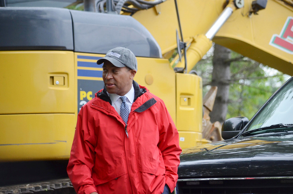 . Governor Deval Patrick arrives at a groundbreaking ceremony for the repair of Tyringham Road, Monday June 9, 2014.  Ben Garver / Berkshire Eagle Staff / photos.berkshireeagle.com