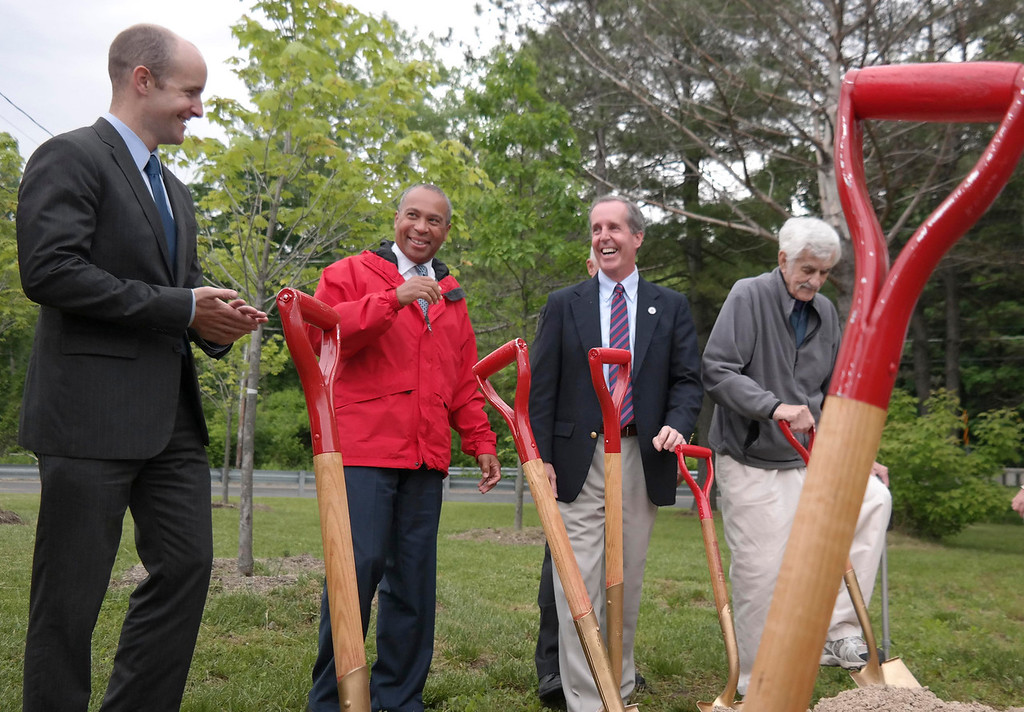 ". Senator Ben Downing, Governor Deval Patrick and Represenative William ""Smitty\"" Pignatelli share a moment at the groundbreaking ceremony for the repair of Tyringham Road.  Monday June 9, 2014.  Ben Garver / Berkshire Eagle Staff / photos.berkshireeagle.com"