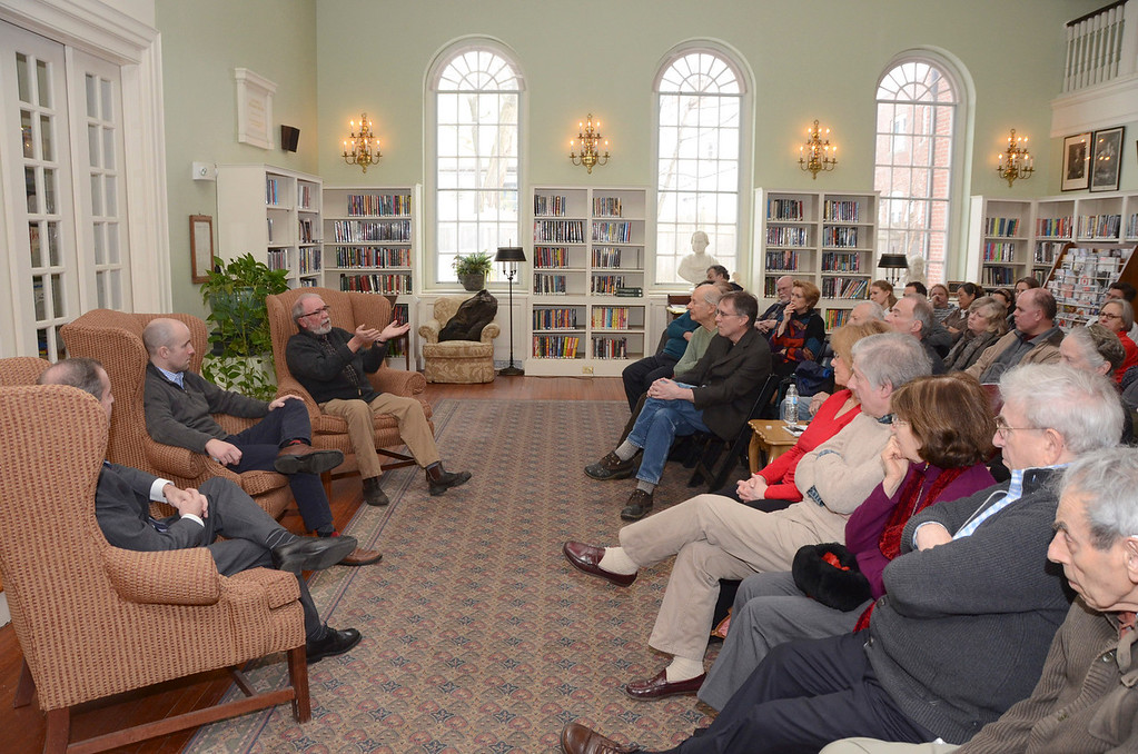 . From left, state Rep. William \'Smitty\' Pignatelli, state Sen. Benjamin B. Downing and David Roche, chairman of the Lenox Board of Selectmen, participate in a panel discussion titled \'Local Government: Making the System Work for You,\' in the Sedgwick Reading Room at the Lenox Public Library on Sunday, March, 23, 2014. Gillian Jones / Berkshire Eagle Staff / photos.berkshireeagle.com