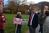 Robert Moulton stands outside Ward 4 at Greylock School with supporters during election day on Tuesday November 5, 2013. (Gillian Jones/North Adams Transcript)
